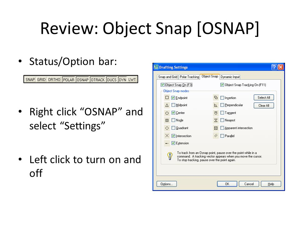 Review: Object Snap [OSNAP]